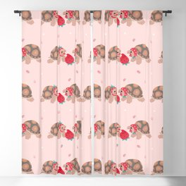 Tortoises love strawberries Blackout Curtain