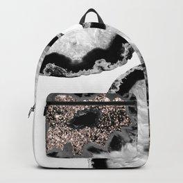 Gray Black White Agate Glitter Glamor #4 #gem #decor #art #society6 Backpack
