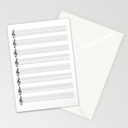 Treble Clef Staves Stationery Cards