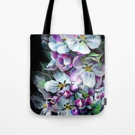 Delicate flowers in pink warm tones in fantasy style on a black background. Hand illustration, pen, Tote Bag