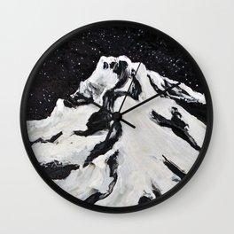 Mount Hood and Stars Wall Clock