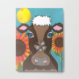 Brown Cow Metal Print