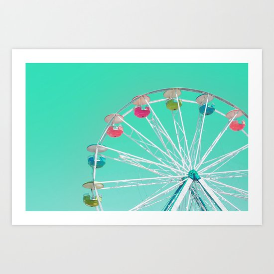 Minty Ferris Wheel of Happiness Art Print