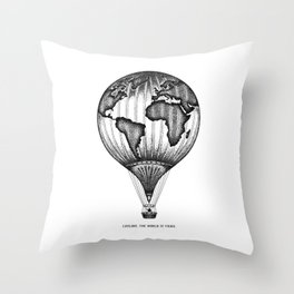 EXPLORE. THE WORLD IS YOURS. Throw Pillow