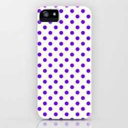 Small Polka Dots - Indigo Violet on White iPhone Case