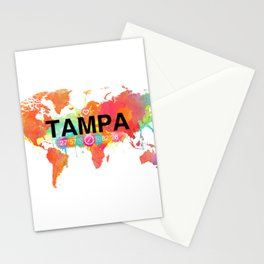 Vivid Watercolor Tampa Florida Map Stationery Cards