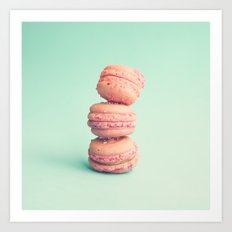 Three pink macaroons  Art Print