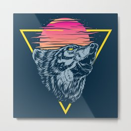The Lone Wolf Howls at Sunset Metal Print