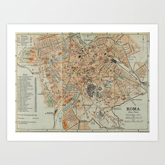 Vintage Map of Rome Italy (1911) by bravuramedia