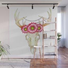 Deer Skull, pearls and Flowers Wall Mural