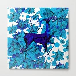 Reindeer Blue Metal Print