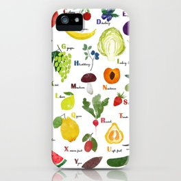 English fruit and vegetables alphabet iPhone Case