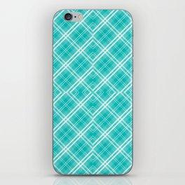 Blue & White Diagonal Plaid Scottish Clan iPhone Skin