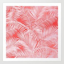 Tropical living coral blush pink glitter palm tree floral Art Print
