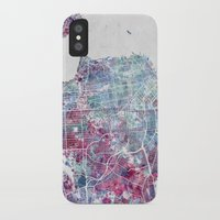 san francisco map iPhone & iPod Cases featuring San Francisco map by MapMapMaps.Watercolors