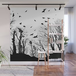 rooks and trees 1 Wall Mural