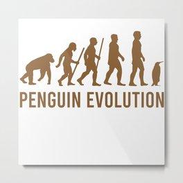 Penguin Evolution Gift T-Shirt Metal Print