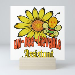 Unbelievable Assistant  Sunflowers and Bees Mini Art Print