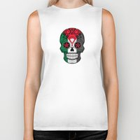 palestine Biker Tanks featuring Sugar Skull with Roses and Flag of Palestine by Jeff Bartels
