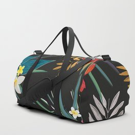Frangipani, lily palm leaves tropical vibrant colored trendy summer pattern black background Duffle Bag