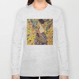 Gustav Klimt Lady With Fan  Art Nouveau Painting Long Sleeve T-shirt