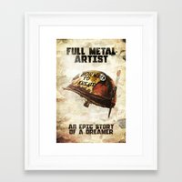 full metal alchemist Framed Art Prints featuring Full metal artist by HappyMelvin