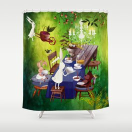 Bunny Tea Party in forest Shower Curtain