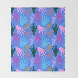 Minimalist Hands in Blue Throw Blanket