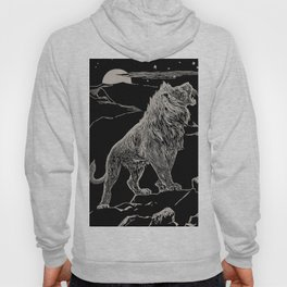 The animal story book Andrew Lang - 1904 Black & White Ink Lion Magical Mystical Animal Art Hoody
