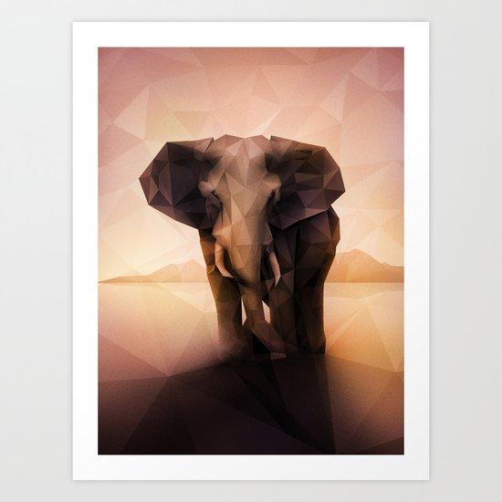 Elephant (Low Poly Peach) Art Print