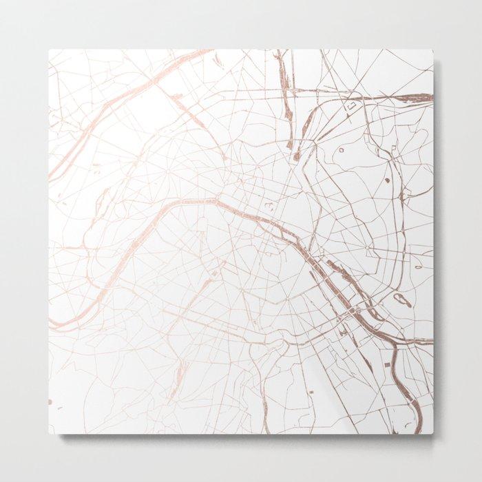 Paris France Minimal Street Map - Rose Gold Glitter Metal Print
