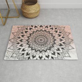 Boho black watercolor floral mandala rose gold glitter ombre white marble Rug