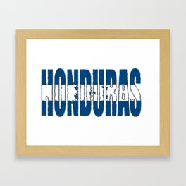 Honduras Font with Honduran Flag Framed Art Print