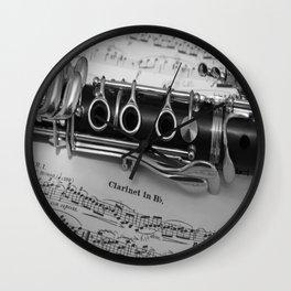 B Flat Clarinet in Black & White Wall Clock