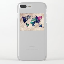 World map watercolor 1 Clear iPhone Case