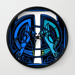 Celtic Peacocks Letter T Wall Clock