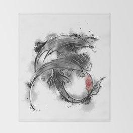 Sumi-e Dragon Throw Blanket