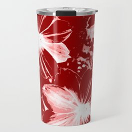 Burgundy Flowers Travel Mug