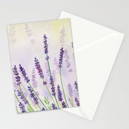 Lavender Flowers Watercolor Stationery Cards