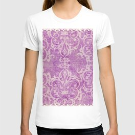 Antique rustic purple damask fabric T-shirt