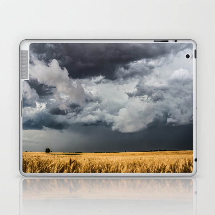 Cotton Candy - Storm Clouds Over Wheat Field in Kansas Laptop & iPad Skin