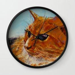 Orange Tabby Cat Wall Clock