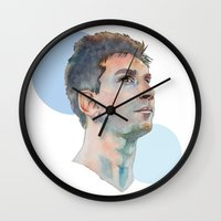 messi Wall Clocks featuring Lionel Messi by Megan Diño