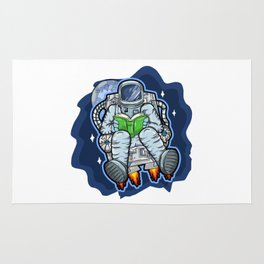 Astronaut Reads A Book In Space Rug
