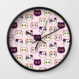 Kitty Pattern- Pink Wall Clock