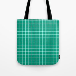 Paolo Veronese green - green color - White Lines Grid Pattern Tote Bag