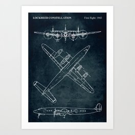 LOCKHEED CONSTELLATION - First flight 1943 Art Print