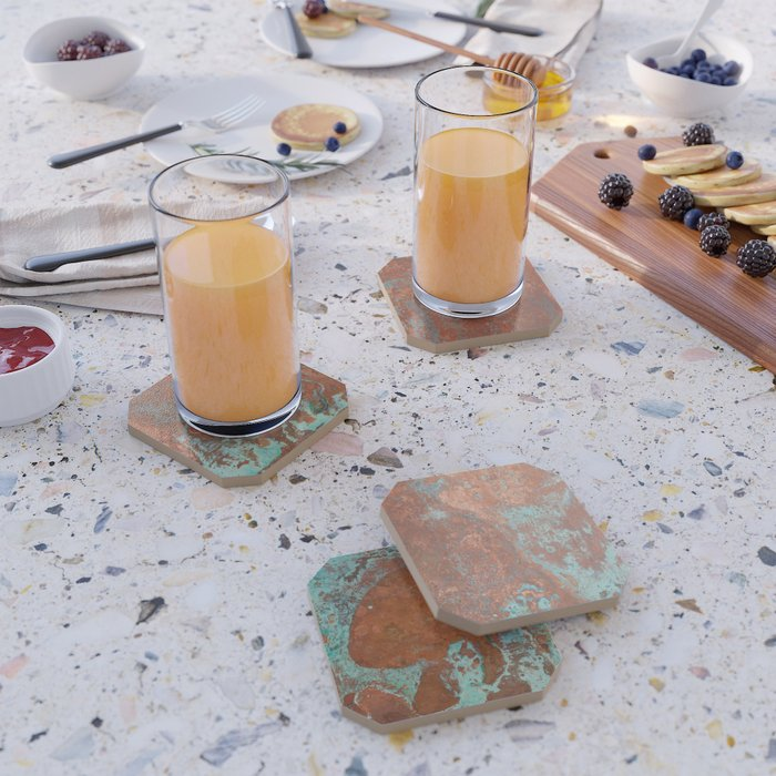 Tarnished Metal Copper Texture - Natural Marbling Industrial Art Coaster