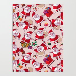 Santa Gift Pattern Poster
