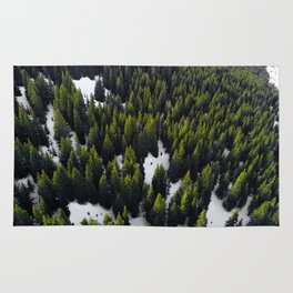 Green Evergreen Forest in Snow (Color) Rug